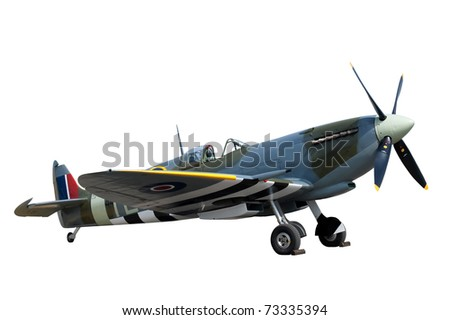 beautifully restored vintage WW2 Supermarine Spitfire isolated on white