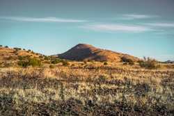 Beautifully rugged and remote West Texas mountain landscapes at sunset