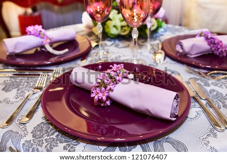 Beautifully served table for banquet