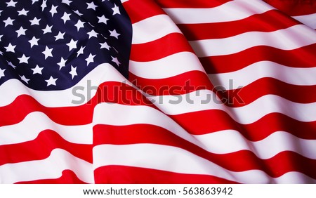 Beautifully waving star and striped American flag #563863942