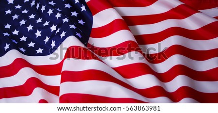 Beautifully waving star and striped American flag #563863981