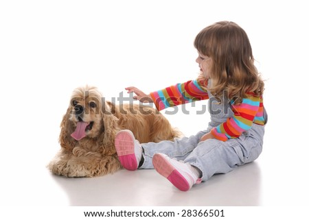 beauty a little girl and American Cocker Spaniel