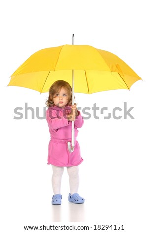 beauty a little girl with yellow umbrella