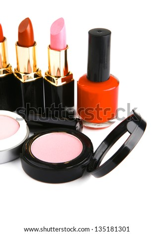 beauty accessories makeup set over white background