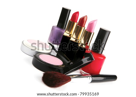 beauty accessories set isolated over white background . shallow dof