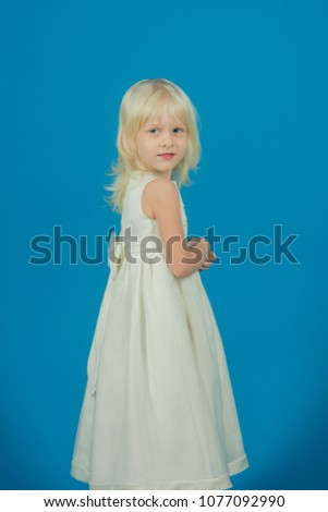 beauty and fashion. beauty of pretty small girl in dress #1077092990
