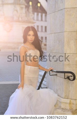 beauty and fashion. beauty of young pretty bride in wedding dress in sunlight #1083762152