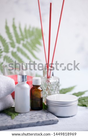 Beauty and fashion concept with spa set on marble plate, sea salt, aroma oil, aroma stick, cotton towels, eco friendly, zero waste relax and wellness background #1449818969