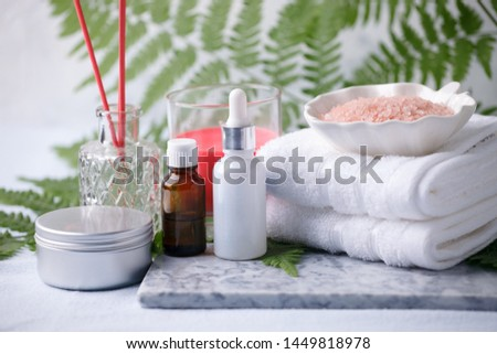 Beauty and fashion concept with spa set on marble plate, sea salt, aroma oil, aroma stick, cotton towels, eco friendly, zero waste relax and wellness background #1449818978