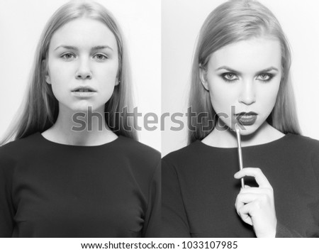 beauty and fashion, fashionable and natural, girl collage, comparison portrait, makeup and visage, belle and simpleton, hottie and nottie - Shutterstock ID 1033107985