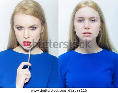 beauty and fashion, fashionable and natural, girl collage, comparison portrait, makeup and visage, belle and simpleton, hottie and nottie - Shutterstock ID 632599115