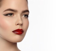 Beauty and fashion of the woman with chubby red lips and shooters of a pencil in the eyes. Magnificent eyelashes, eyebrow mascara and claret lipstick. Beautiful long neck, pure leather