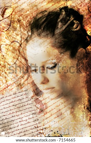 beauty and grunge portrait of a woman with a lot of letters around her