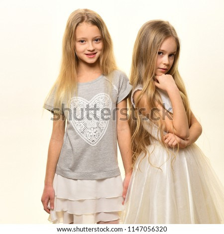 beauty. beauty and fashion concept. real natural beauty. beauty salon for two girls isolated on white #1147056320
