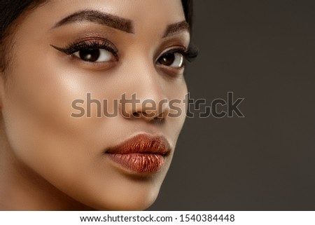 Beauty black skin woman African Ethnic female face. Young african american model. Lux model.