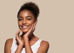 Beauty black skin woman face cosmetic portrait