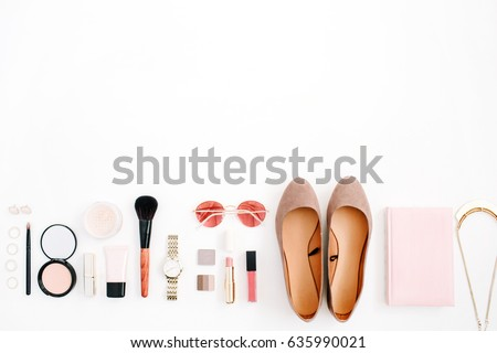 Beauty blog fashion concept. Female pink styled accessories: watches, sunglasses, cosmetics, shoes on white background. Flat lay, top view trendy feminine background. #635990021