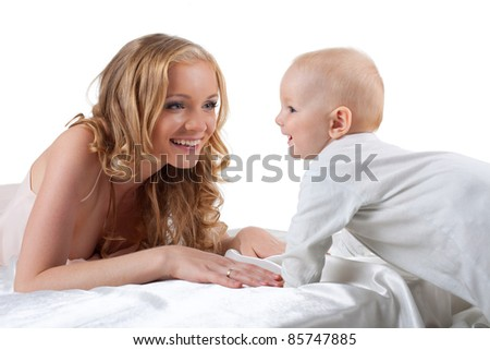 Beauty blond mother look on son isolated