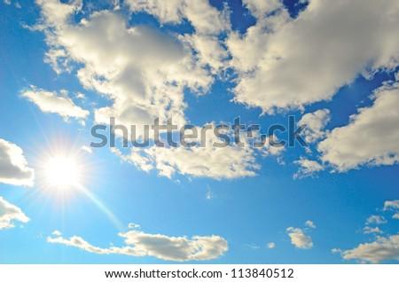 beauty blue sky with sun (series)