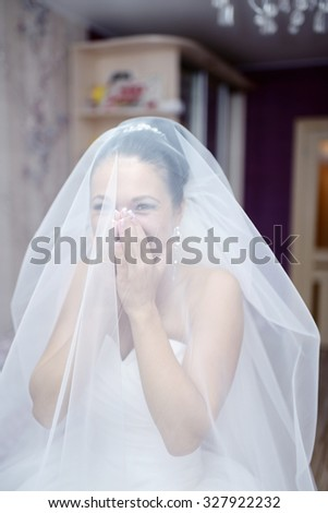 Beauty bride in bridal gown with lace veil indoors. Beautiful model girl in a white wedding dress. Female portrait of cute lady. Woman with hairstyle #327922232