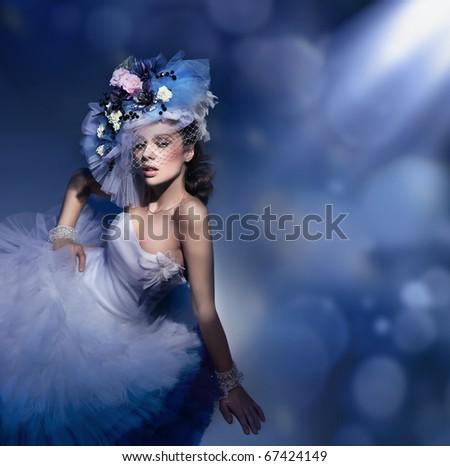 Stock Photo Beauty brunette in white dress