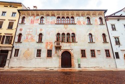 Beauty building in Trento. Trento is a city on the Adige River in Trentino Alto Adige Sudtirol in Italy.