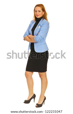 Beauty business woman standing with arms folded isolated on white background