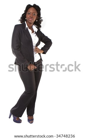 beauty businesswoman standing isolated on white - black afro american african