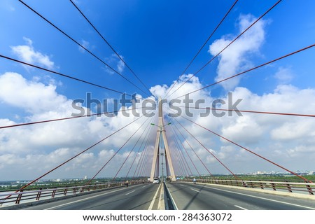Beauty Can Tho bridge over the rope splash in beautiful sky.  Here is the pride of Vietnam architecture make people's lives more developed thanks to this bridge #284363072