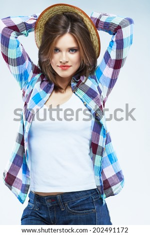 Beauty caucasian woman fashion posing in casual clothes.