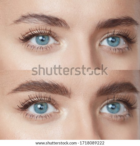 Beauty. Close Up Woman's Eyebrows Before And After Microblading. Difference Between Female Brows With Lamination And Without Correction. Zdjęcia stock ©