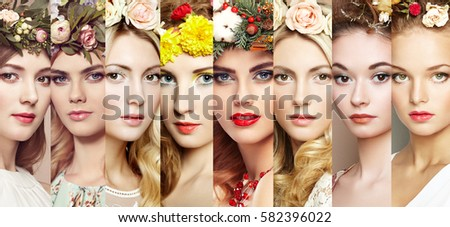 Beauty collage. Faces of women. Beautiful women with flowers. Fashion photo. Girl with wreath on her head