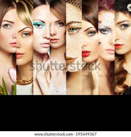Beauty collage Faces of women Fashion photo