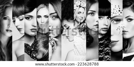 Shutterstock Beauty collage. Faces of women. Fashion photo. Black and white