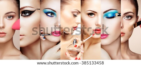 Beauty collage. Faces of women. Fashion photo. Makeup artist applies lipstick and eye shadow. Woman applying perfume #385133458