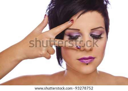 beauty concept - nails and lashes, photographed on white studio background