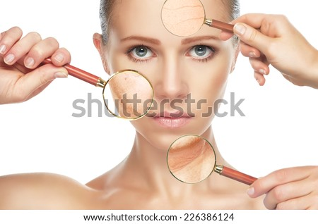 beauty concept skin aging. anti-aging procedures, rejuvenation, lifting, tightening of facial skin, restoration of youthful skin anti-wrinkle #226386124