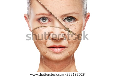 beauty concept skin aging. anti-aging procedures, rejuvenation, lifting, tightening of facial skin, restoration of youthful skin anti-wrinkle #233198029