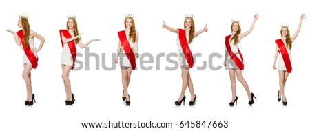 Beauty contest winner isolated on the white #645847663