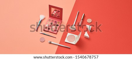 Beauty cosmetic makeup product layout. Fashion woman make up brush, powder. Stylish minimal coral design. Creative fashionable concept. Cosmetics make-up accessories, pop art.