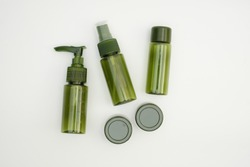 Beauty cosmetics glassbottle on a white background. Package for essential oil