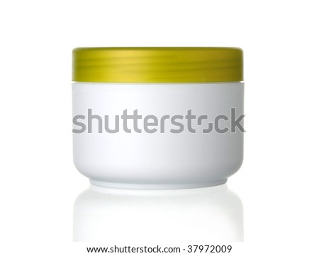 beauty cream box on white - stock photo