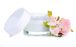 Beauty cream for face flowers on white background isolation