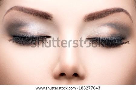 Stock Photo Beauty Eyes Makeup. Make up closeup. Long eyelashes, Perfect skin