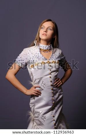 beauty face of beautiful cheerful teenager - stock photo