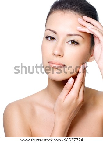 Beauty face of beautiful woman with clean fresh skin - isolated