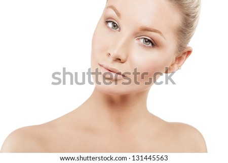 Beauty face of beautiful woman with clean skin - isolated