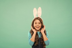 Beauty face of Easter. Happy child celebrate Easter. Beauty look of cute bunny. Hair and beauty salon. Fashion and style. Holiday celebration. Spring and renewal. Beauty is all about you, copy space.