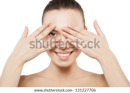 Beauty face of woman with clean skin - isolated