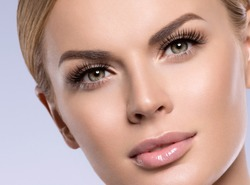 Beauty face woman with beautiful lashes healthy skin